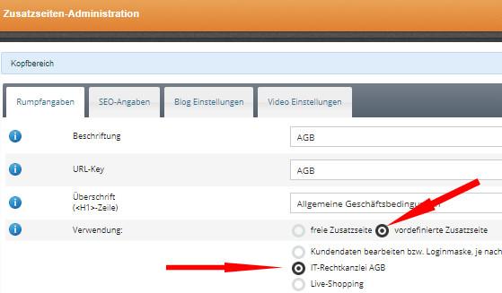 Änderung der Zusatzseite AGB auf vordefinierte Zusatzseite und Auswahl IT-Recht Kanzlei