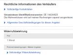 Änderungen im Layout von eBay.de: AGB, Widerrufsbelehrung und Impressumsangaben werden nicht mehr direkt angezeigt
