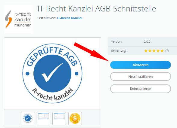 Aktivierung des Plugins IT-Recht Kanzlei AGB-Schnittstelle