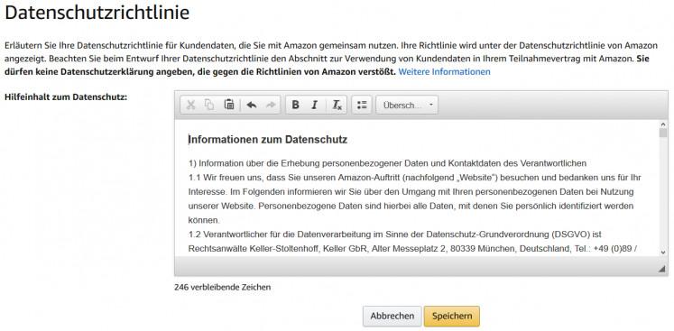 Amazon Datenschutzerklärung