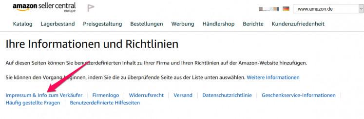 Amazon Impressum und Info zum Verkäufer