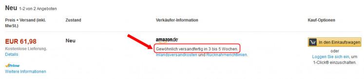 Amazon Lieferzeitenangabe