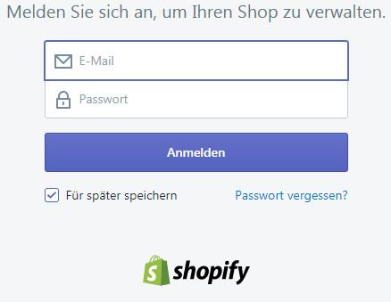 Anmelden im Shopify Admin-Bereich