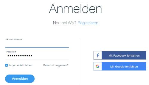 Wix Anmelden