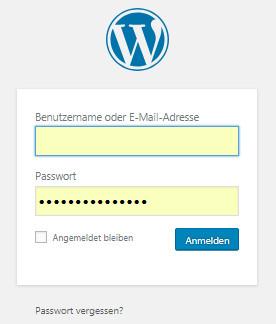 Anmelden in der Wordpress Präsenz