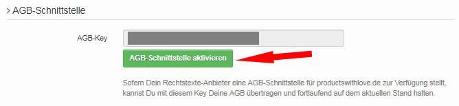 Ansicht AGB-Schnittstelle aktivieren