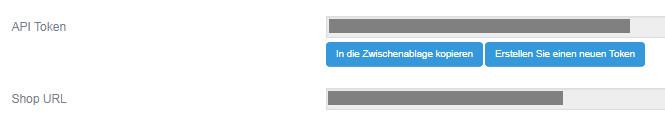 Ansicht API-Token und Shop-URL bei German Market