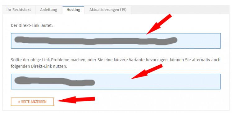 Ansicht der Direktlinks nach Klick auf Hosting