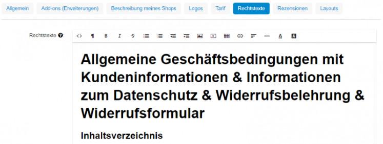 Ansicht der Rechtstexte nach Eingabe der Rechtstexte mit html copy & Paste