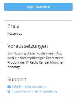 Ansicht vor App-Installation