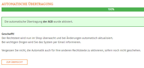 Anzeige nach erfolgreicher Einrichtung der AGB-Automatik