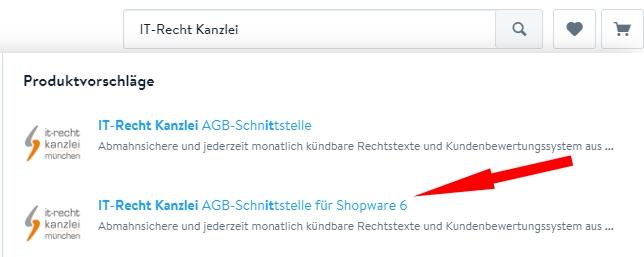 Auswahl AGB Schnittstelle für Shopware 6 im Shopware Store