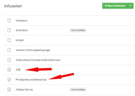 Auswahl AGB und Datenschutz für Einrichtung als Scriptseite bei Gambio