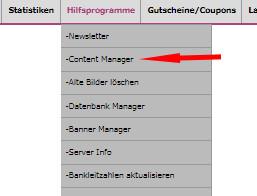 Auswahl Content Manager bei den Hilfsprogrammen bei modified ecommerce