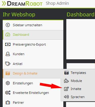 Auswahl Design und Inhalte - Inhalte im DR-Webshop