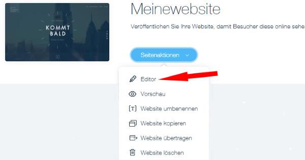 Auswahl Editor bei den Seitenaktionen im Wix-Dashboard