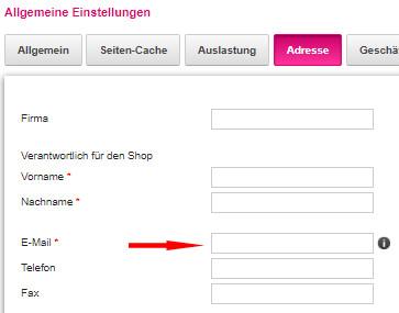 Auswahl Einstellungen - Allgemein - Adresse im Telekom-Shop