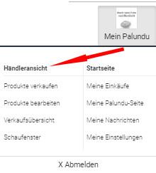 Auswahl Händleransicht im Palundu-Backend