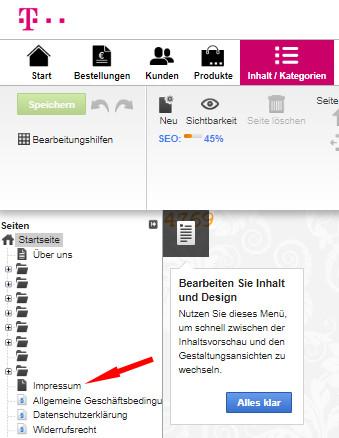 Auswahl Inhalt - Inhaltsvorschau - Impressum im Telekom Shop