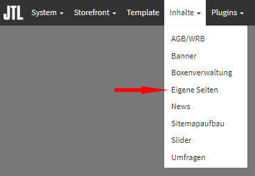 Auswahl Inhalte - eigene Seiten im JTL Shop