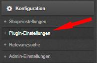 Auswahl Konfiguration - Plugin-Einstellungen bei Cosmoshop
