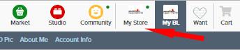 Auswahl MyStore im Bricklink Dashboard