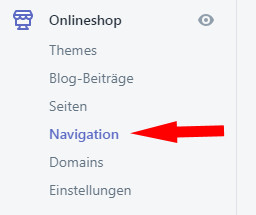 Auswahl Navigation bei Shopify