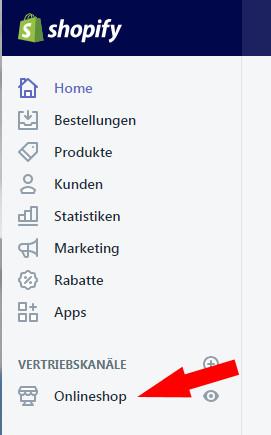 Auswahl Onlineshop im Adminbereich