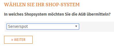 Auswahl Serverspot für AGB-Übertragung
