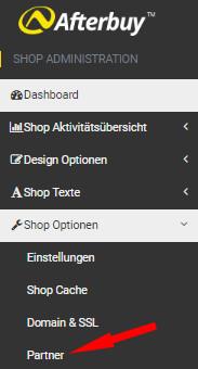 Auswahl Shop-Optionen - Partner