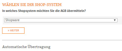 Auswahl Shopware-Shop für die Datenübertragung