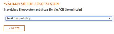 Auswahl Telekom Webshop für die Datenübertragung