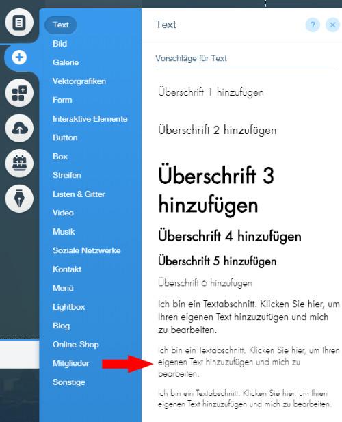 Auswahl Textabschnitt bei Wix