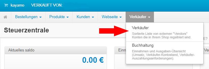 Auswahl Verkäuferkonto kayamo.eu