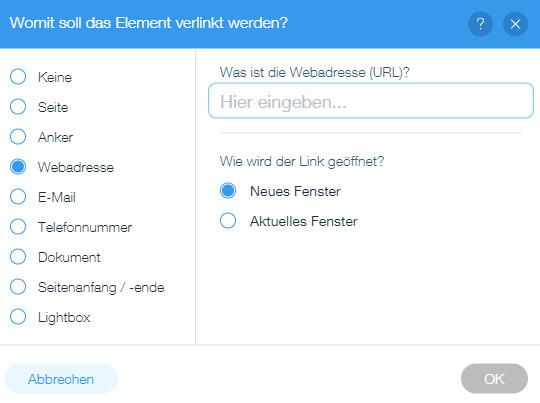 Auswahl Webadresse bei der Linksetzung bei Wix