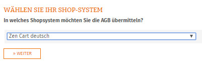 Auswahl Zen Cart deutsch für die AGB-Übertragung
