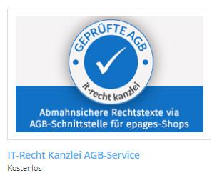 Auswahl der Kanzlei-App bei epages