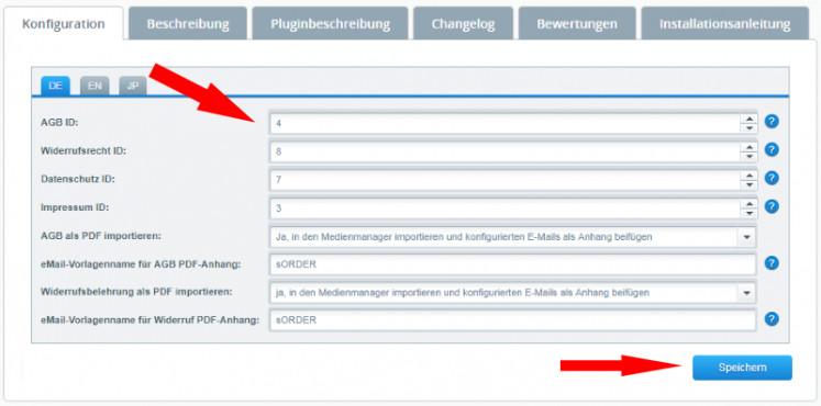 Auswahl der Seiten-IDs für die Rechtstexte in der Konfiguration