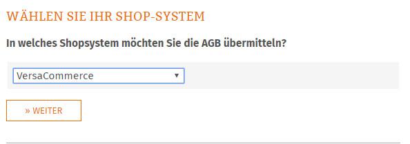 Auswahl des Shopsstem in das die AGB übertragen werden sollen