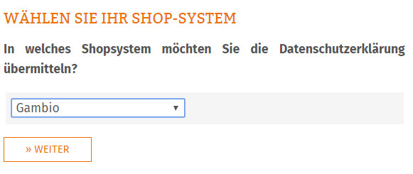 Auswahl des Shopsystems Gambio für die AGB-Übertragung