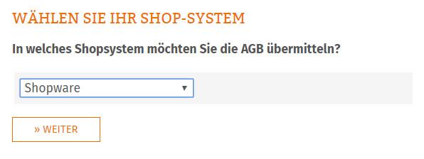 Auswahl des Shopsystems für die Übertragung der AGB