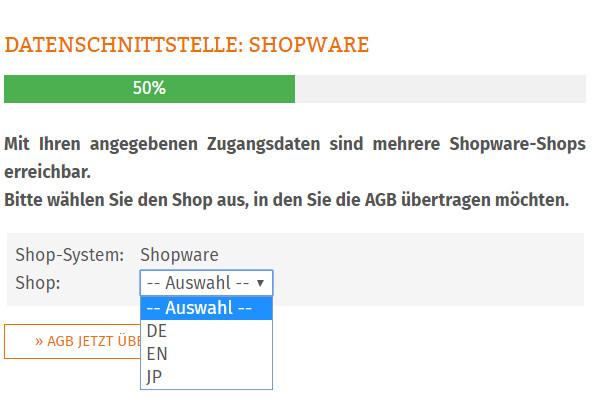 Auswahl des Shopware-Shops bei mehreren Shops