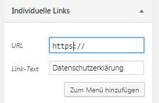 Auswahl individuelle Links im Menü - Eingabe des Hosting-Links
