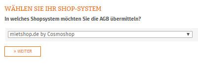 Auswahl mietshop.de für die Datenübertragung