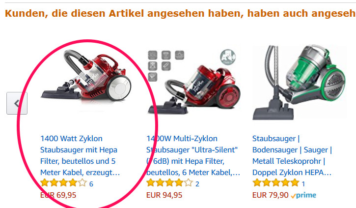 Cross-selling-Angebote auf Amazon