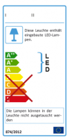Einbettung des elektronischen Etiketts für Leuchten per Verlinkung nach VO 518/2014
