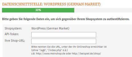 Eingabe API-Toekn und Shop-URL für German Market