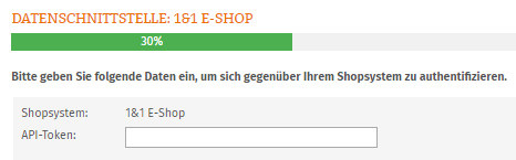 Eingabe API-Token für 1&1 E-Shop
