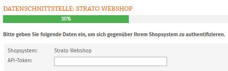 Eingabe API-Token für Strato Webshop