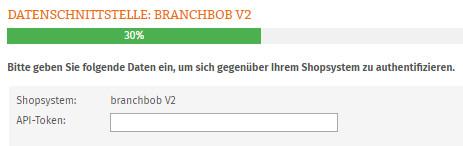 Eingabe API-Token für branchbob V2